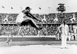 Jesse Owens winning the Long Jump event at the 1936 games in Berlin.